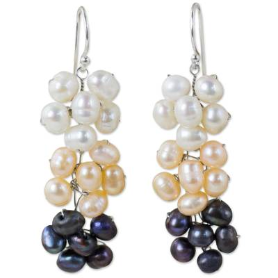 Handmade Cultured Pearl Dangle Earrings with Floral Motif
