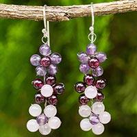 Multi-gemstone dangle earrings, 'Simply Floral' - Artisan Crafted Multi-gemstone Floral Dangle Earrings