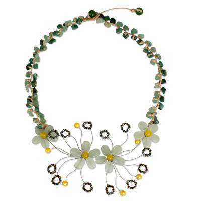 Floral Pendant Necklace Crafted from Quartz and Pearls