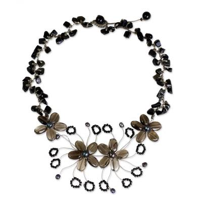 Artisan Crafted Smoky Quartz and Onyx Flower Necklace