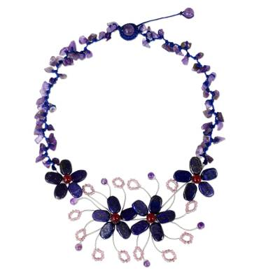 Fair Trade Necklace Made from Lapis Lazuli and Amethyst