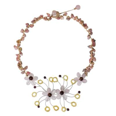 Handmade Multi-gemstone Beaded Necklace with Floral Motif