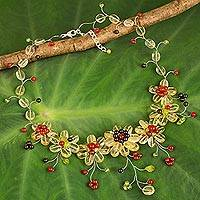 Multi-gemstone waterfall necklace, 'Yellow Zinnias' - Colorful Thai Floral Necklace Handcrafted with Gemstones