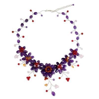 Handcrafted Thai Floral Waterfall Necklace with Gemstones