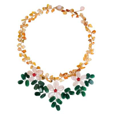 Carnelian and quartz pendant necklace, 'Pink Geranium Trio' - Artisan Crafted Floral Necklace in Quartz and Carnelian