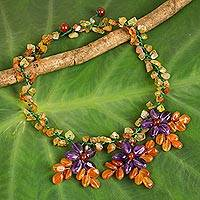Carnelian and amethyst flower necklace, 'Lilac Geranium Trio' - Carnelian Beaded Necklace Hand Crafted with Amethyst Flowers