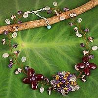 Multi-gemstone statement necklace, 'Sunrise Garden'