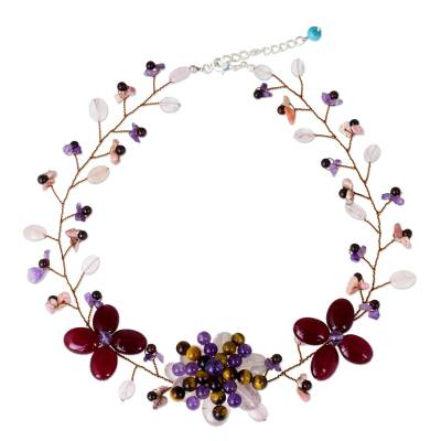 Handmade Colorful Multi-Gemstone Floral Statement Necklace