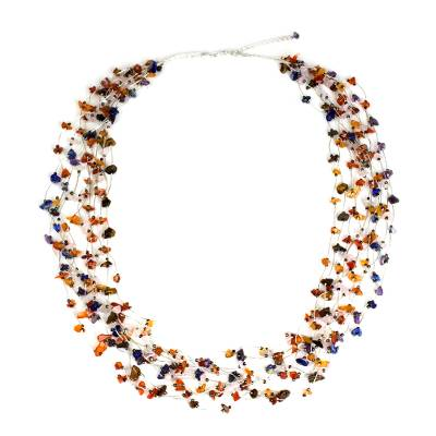 Multicolor Multi Gemstone Necklace Handcrafted Thai Jewelry