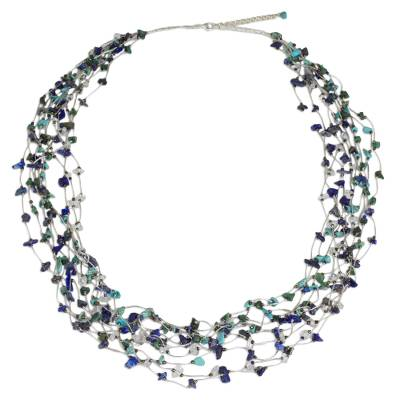 Multi gemstone beaded necklace, 'Torrents of Hope' - Blue and Green Multi Gemstone Necklace Crafted by Hand