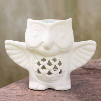 Ceramic oil warmer, 'Welcome Owl' - Handcrafted Thai Ceramic Clay Unglazed Owl Oil Warmer
