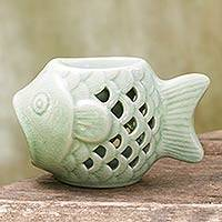 Ceramic oil warmer, 'Hello Fish' - Handcrafted Ceramic Clay Oil Warmer Green Fish from Thailand