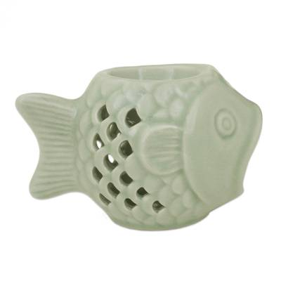 Handcrafted Ceramic Clay Oil Warmer Green Fish from Thailand