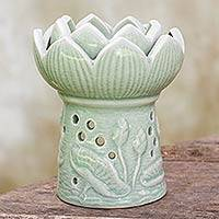 Ceramic oil warmer, 'Fragrant Lotus' - Handcrafted Thai Ceramic Oil Warmer Green Floral Tealight