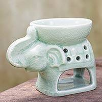 Ceramic oil warmer, 'Hello Elephant' - Handcrafted Thai Ceramic Clay Oil Warmer Green Elephant
