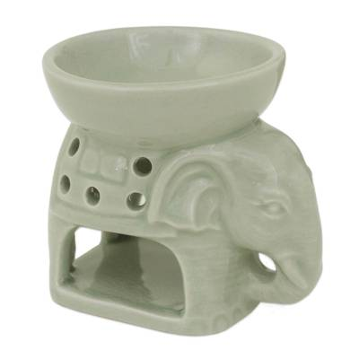 Thailand Ceramic Clay Green Elephant Oil Warmer Hand Crafted