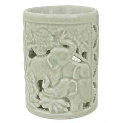 Hand Crafted Ceramic Clay Oil Warmer Thai Green Elephants