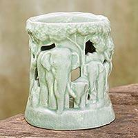 Ceramic oil warmer, 'Lush Thai Forest' - Green Ceramic Clay Oil Warmer Handcrafted Thailand Elephants
