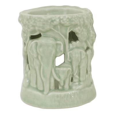 Green Ceramic Clay Oil Warmer Handcrafted Thailand Elephants