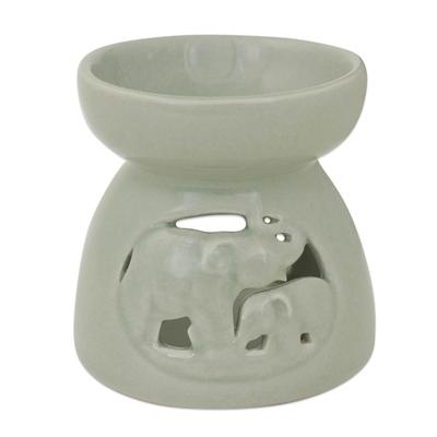 Thailand Elephants Handmade Green Ceramic Clay Oil Warmer