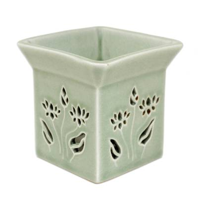 Floral Ceramic Clay Tealight Oil Warmer Handcrafted Thailand