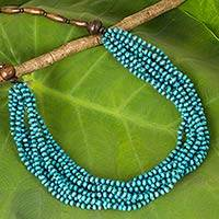 Wood beaded necklace, 'Rising Summer' - Hand Crafted Turquoise Wood Collar Necklace Featuring Ten St