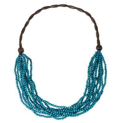 Wood beaded necklace, 'Rising Summer' - Artisan Crafted Blue Wood Statement Necklace from Thailand
