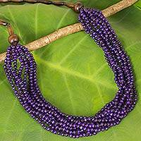 Wood beaded necklace, 'Purple Urchin' - Hand Crafted Purple Wood Collar Necklace Featuring Ten Stran