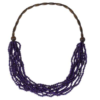 Artisan Crafted Purple Wood Necklace from Thailand