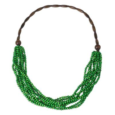 Wood beaded necklace, 'Rising Spring' - Hand Crafted Green Wood Statement Necklace from Thailand