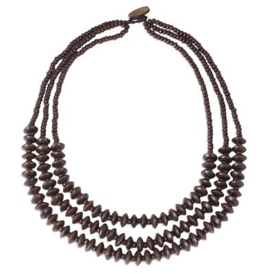 Wood beaded necklace, 'Hawaiian Summer' - Thai Hand Crafted Wood Bead Necklace with Three Strands