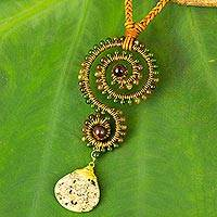 Multi-gemstone and leather pendant necklace, 'Bohemian Swirl'