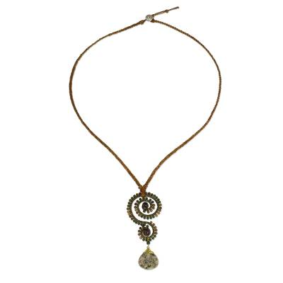 Multi-gemstone and leather pendant necklace, 'Bohemian Swirl' - Handcrafted Gemstone and Leather Thai Pendant Necklace