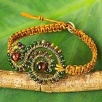 Multi-gemstone and leather beaded bracelet, 'Bohemian Swirl'