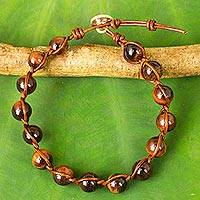 Tiger's eye and leather beaded bracelet, 'Warm Rhythm' - Tiger's Eye and Leather Handcrafted Bracelet with Silver 950