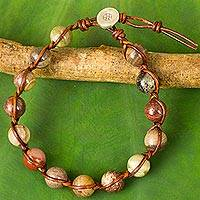 Agate and leather beaded bracelet, 'Cheerful Rhythm' - Handcrafted Leather and Agate Bracelet from Thailand