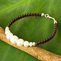 Cultured pearl and leather braided bracelet, 'Chiang Mai Clouds'