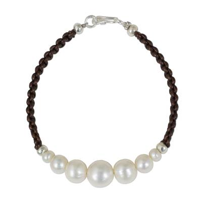 Cultured pearl and leather braided bracelet, 'Chiang Mai Clouds' - White Cultured Pearl Hand Braided Leather Bracelet