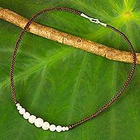Cultured pearl and leather necklace, 'Chiang Mai Clouds' - White Cultured Pearl Hand Braided Leather Necklace