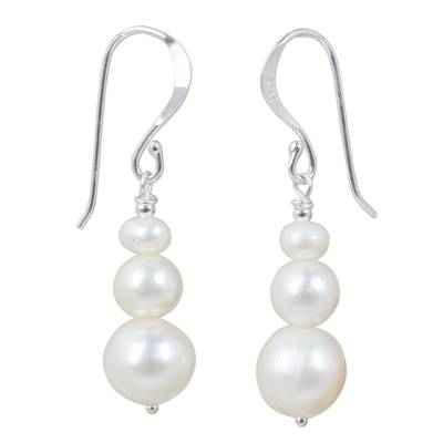 Cultured pearl dangle earrings, 'Chiang Mai Clouds' - White Cultured Pearl Dangle Earrings from Thailand