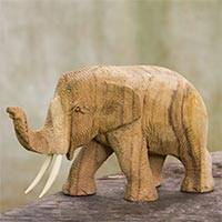 Wood statuette, 'Blissful Day' - Hand Crafted Rain Tree and Ivory Wood Elephant Statuette