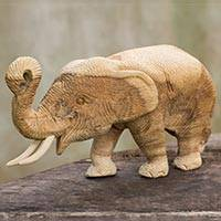 Teakwood statuette, 'Elephant Play' - Hand Carved Teak Wood Elephant Statuette from Thailand