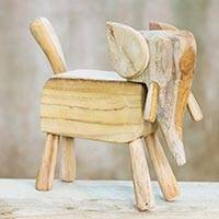 Wood figurine, 'Primitive Elephant' - Unfinished Santol Wood Primitive Elephant Statuette