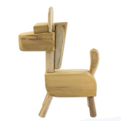 Fair Trade Hand Carved Unfinished Wood Horse Sculpture