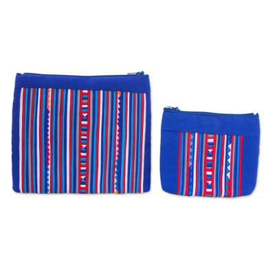 Lisu Tribe Style Cosmetic Bags in Red White and Blue (Pair)