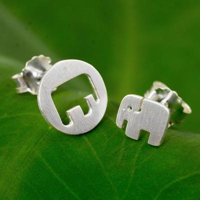 Sterling silver button earrings, 'Elephant in the Moon' - Elephant Theme Button Earrings in Brushed Sterling Silver