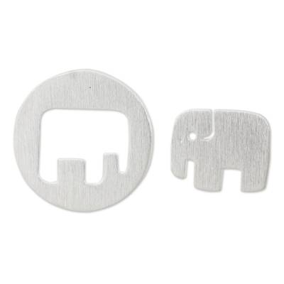 Sterling silver button earrings, 'Elephant in the Moon' - Elephant Theme Button Earrings in Brushed Sterling Silver