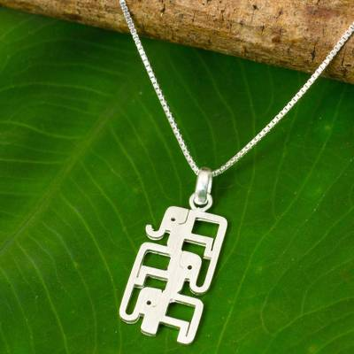Sterling silver pendant necklace, 'Elephant Pyramid' - Brushed Sterling Silver Three-Elephant Pendant Necklace