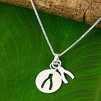 Sterling silver pendant necklace, 'Wishbone Silhouette' - Thai Brushed Sterling Silver Wishbone Pendant Necklace