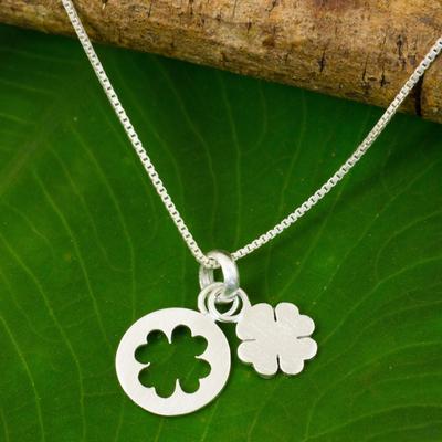 Sterling silver pendant necklace, 'Four Leaf Clover' - Thai Brushed Sterling Silver Lucky Clover Pendant Necklace